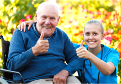 old man and nurse showing their thumbs up